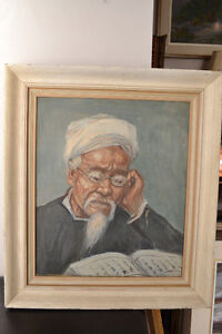 Old Man Reading Scriptures OIL ON CANVAS PAINTING 24 x 21 INCHES