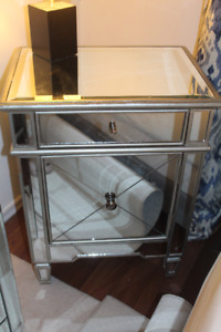 Two Piece Mirror Drawer + Side Table Set