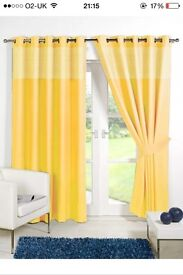 Yellow gingham curtains brand new size 66 by 54