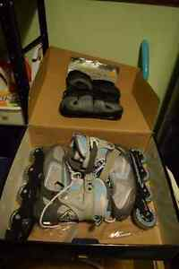 2 sets of girls roller blades with pads