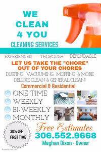 We Clean 4 You Cleaning Services are taking on new clients Regina Regina Area image 1