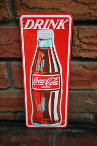 EMBOSSED COCA COLA COKE TIN SIGN