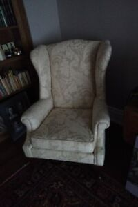 1970s grand wing chair recently re-upholstered