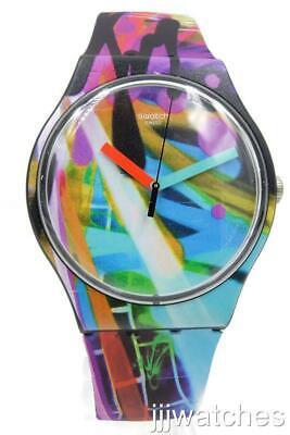 New Swatch Swiss Originals CITY WALLS Graffiti Silicone Watch 41mm SUOB163 $80