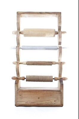 Nudelholz Teigroller Teigrolle Holzrolle Holz Gestell Deko Küche