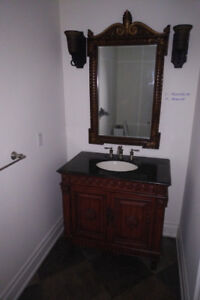 Bathroom Vanity - Antique Like, Carved Wood, Granite, Mirror