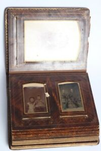 Antique photo album with tintype and cabinet cards