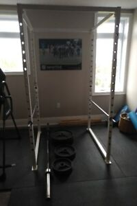 OLYMPIC WEIGHTS, BAR AND CAGE