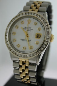 Rolex Datejust 36mm 18k Gold & Steel with MOP Diamond Dial Bezel