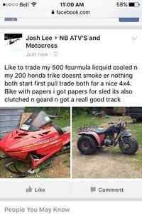 Need gone or trade for a dirt bike er 4x4