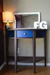Versatile Brown and Blue Half Moon Vanity, Sofa Table, End Table