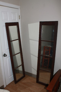 Two antique doors set with mirrors, $30 each or $45 for both