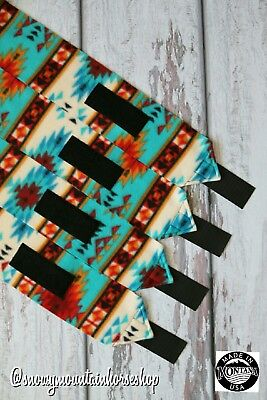 Horse Polo Leg Wraps For Horses Polos Set of 4 Native American Teal & Turquoise