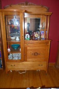 Curved Glass Antique China Cabinet