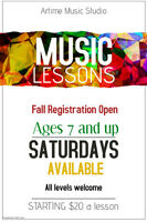 Music Lessons - Violin, Piano, Voice. Fall Registration Open