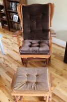 Solid Wood Rocking Chair & Otoman in Excellent Condition