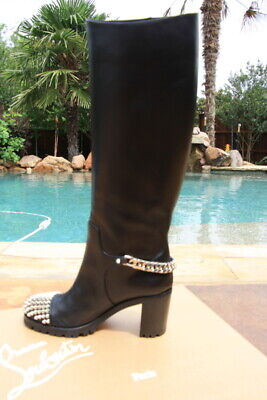 Christian Louboutin Napaleona Napoleona Spiked toe black leather boots 36 NIB
