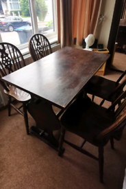 Old Oak Dining table with 4 chairs
