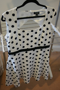 Le Chateau black and white polka dot dress