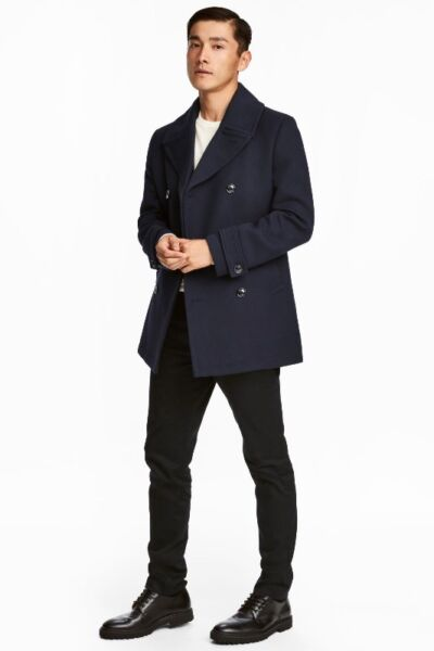 H&M HnM THICK TWILL Pea COAT JACKET DarkBlue WINTER USE BRAND NEW