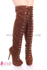 Brown suede laced up thigh high stiletto boots