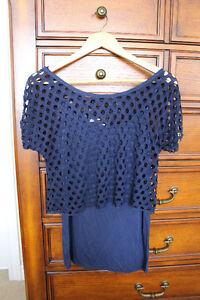 Brand new navy top from Pinkie with crochet crop top, size S/M