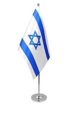 """ISRAEL DELUXE SATIN TABLE FLAG 9""""X6"""" CHROME POLE & BASE Stands 15"""" ISRAELI"""