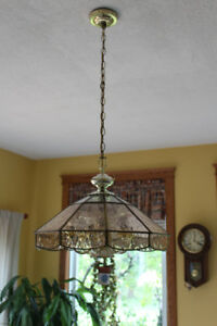 Stained Glass & Brass Chandelier