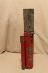 Vintage Metal Flag and Flare Canister