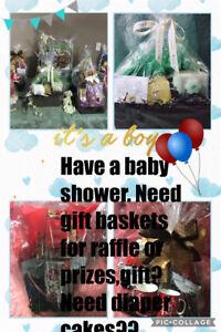 Baby shower gift baskets and diaper cakes