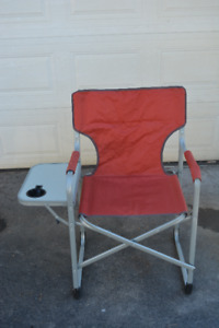 Two folding lawn chairs