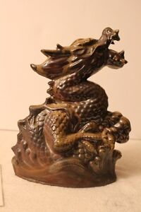 Antique Chinese zodiac, Dragon statue with glaze made in Japan