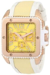 Invicta Womens Cuadro Swiss Multifunction 18k Rose Gold Case Yellow Dial Watch