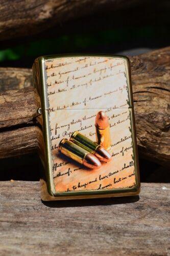 Zippo Lighter -  2nd Second Amendment Bullets - Bill of Rights - Brass - 41538