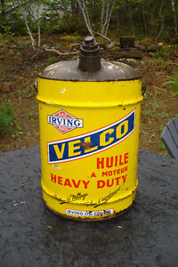 Vintage Irving Oil  5 Gallon Velco Oil Can