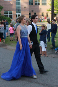 Royal Blue Long Prom Dress with Jewel Top