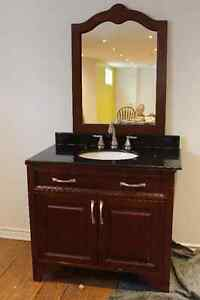 Vanity with marble counter & mirror & faucet (American Standard)