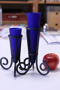 Blue glass & wrought iron vases
