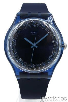 New Swatch Originals BLUSPARKLES Silicone Swarovski Crystals Watch 41mm SUON134