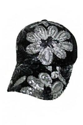 NWT Bling Sequin Flower Pattern Trucker Mesh Style Hat](Sequin Hats)