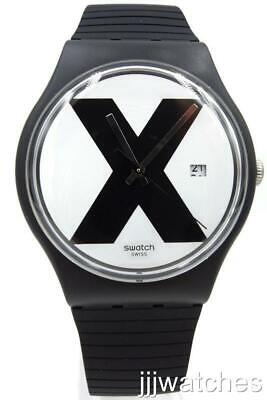 New Swiss Swatch Originals XX-RATED Black Silicone Date Watch 41mm SUOB402 $80