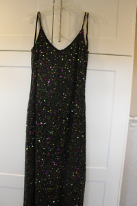 Papell Boutique Black Silk Beaded Evening Gown Size 10