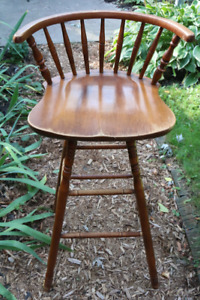 Solid wood vintage swivel bar stool, high chair, counter chair