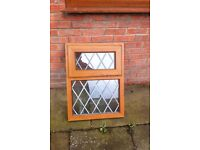 BRAND NEW LIGHT OAK WINDOW FRAME WITH WINDOW LEAD
