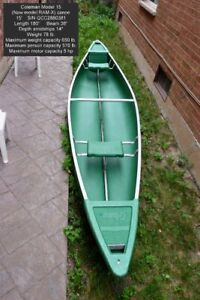 Mint Coleman model 15 (now Ram-X 15) canoe, green w/paddles