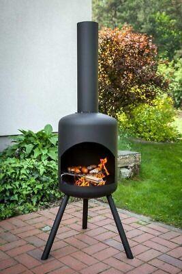FIRE BOWL garden fireplace, fireplace height 143 cm, diameter 41 cm, black color