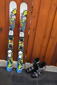 Skis K2 JUVY twin tip..119 cm, Marker bindings, Lange 22.5 boots