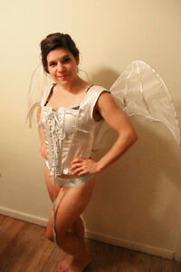 Costume Halloween Corset and wings Silver and white - Corset