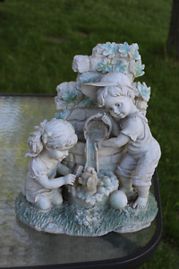 Resin Statue - Boy and Girl Bathing Puppy