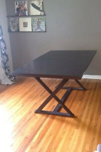 Dining room table, dark wood, expands to seat 12